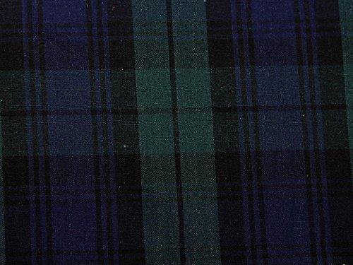 Baumwoll-Popeline, Schottenkaro, Marineblau und Grün, Meterware