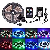 XUNATA Música Ritmo 12V Tiras LED RGB 2835 SMD Para TV Tira de Luces LED Kit Completo con control remoto de 20 teclas (5m 300LEDs...