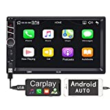 Binize 7 inch Touchscreen Car Radio Receiver/Apple Carplay/Android Auto/MP5 Player,Bluetooth, AM,FM,Support reversing Image/Brake Prompt/Steering Wheel Control/Video Output/AUX Audio Input (7013B)