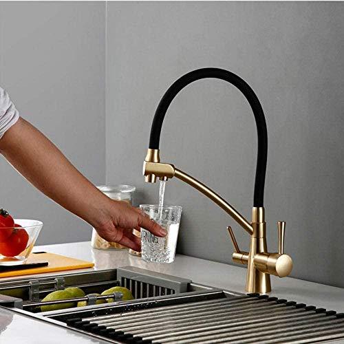 Grifo de filtro de agua inverso de ósmosis de color dorado antiguo Mezclador de fregadero de 3 vías Grifo de cocina de tres vías