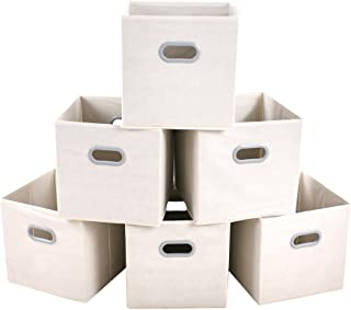 MAX Houser Fabric Storage Bins Cubes Baskets Containers with Dual Plastic Handles for Home Closet Bedroom Drawers Organizers, Foldable, Set of 6 (Beige)