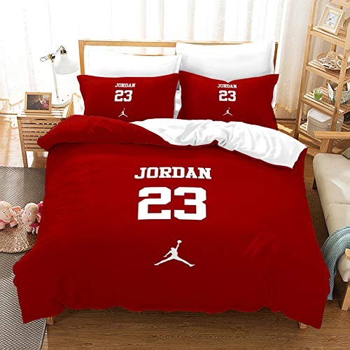 ACJIA Sport Bettwäsche-Sets, 3D-Buchstaben Sports Bettbezug-Set 3 Stück (1 Bettbezug 2 Kissen-) Tröster Abdeckung für Basketball-Fans, Rot,200 * 200cm