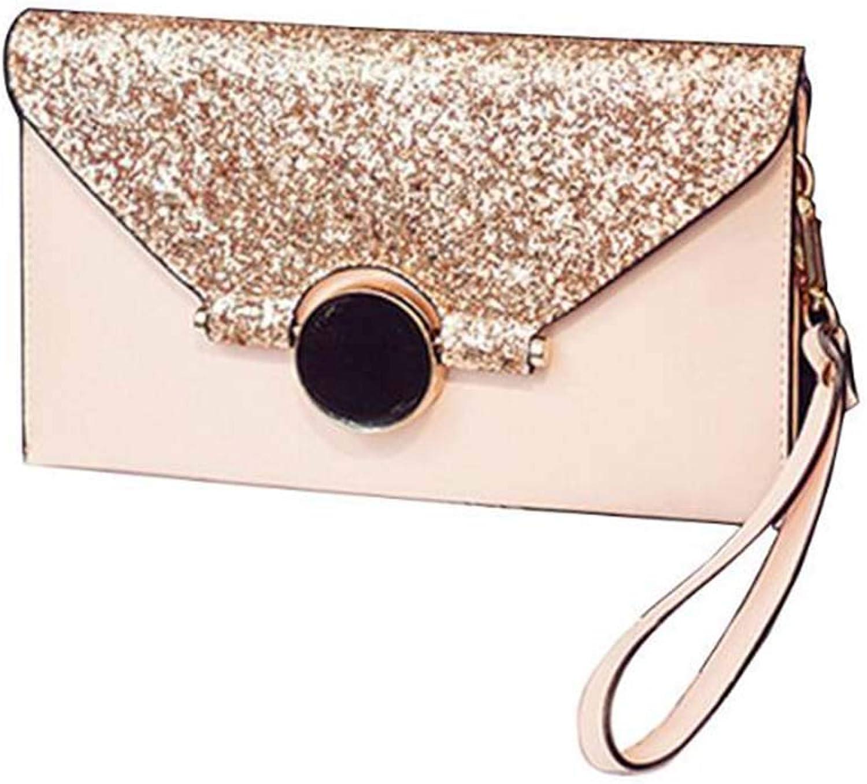 Huasen Evening Bag Envelope Handbag Messenger Bag Clutch Bag Female Shoulder Bag Handbag Party Handbag (color   Pink)