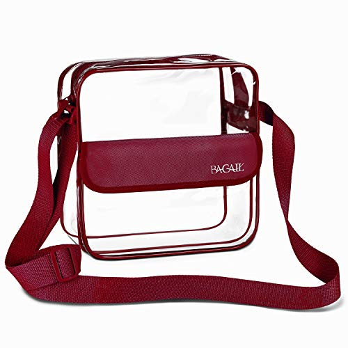 BAGAIL Clear Purse NFL &PGA Approved Cross-Body Shoulder Messenger Bag with Adjustable Strap (Burgundy, 8x8x3inch)