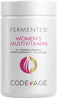 Women's Daily Multivitamin, 25+ Vitamins & Minerals, Fermented, Organic Whole Foods, Probiotics Supplement - Vitamin A, Vi...