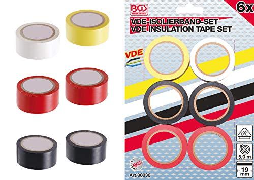 BGS 80836 | VDE-Isolierband-Sortiment | 6-tlg | Länge 5 m | Breite 19 mm | weiß, gelb, rot, schwarz | Elektriker-Klebeband