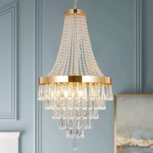 Berliget Empire French Modern Gold Raindrop Crystal Chandelier for Dining Room Living Room Halway Lobby, 19 Inch