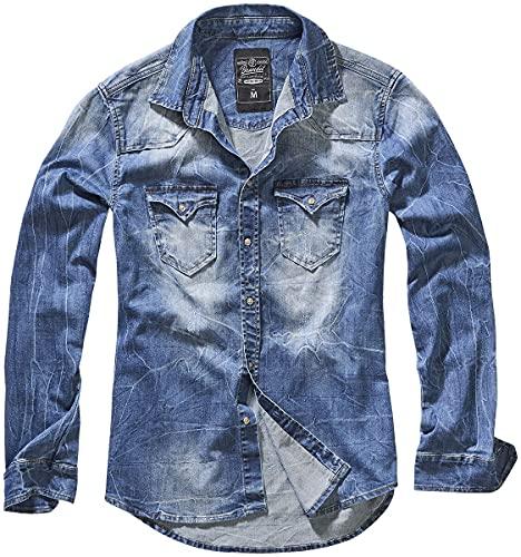 Brandit Riley Denimshirt Camisa Vaquera, Blau (Denim Blue 62), Small para Hombre