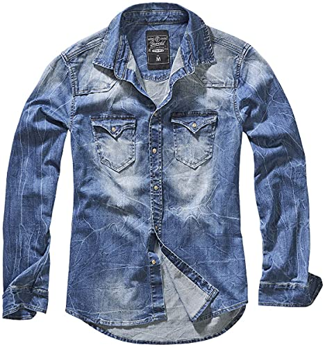 Brandit Hombre Jeans Camisa Riley Denimshirt - Azul (Denim Azul 62), L