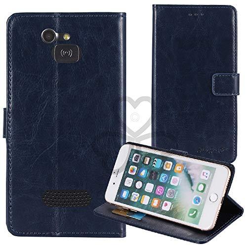 TienJueShi Dark Blau Retro TPU Silikon Flip Book Stand Brief Leder Tasche Schütz Hülle Handy Hülle Für Doro 5516 2.4 inch Abdeckung Wallet Cover Etui