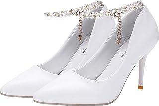 Happyyami Escarpins Femme Talon Haut 8 CM Aiguille Sexy Bout Pointu Bride Cheville Perles Boucle Chaussure dété Soirée Mar...