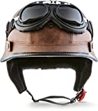 "Moto Helmets D33-Set ""Leather Brown"" · Brain-Cap · Halbschale Jet-Helm Motorrad-Helm..."