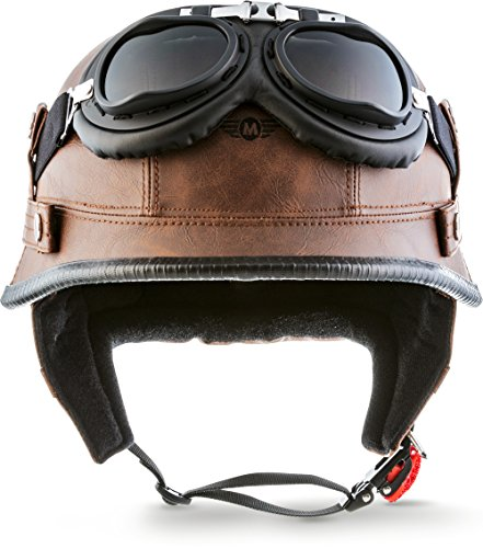 "Moto Helmets® D33-Set ""Leather Brown"" · Brain-Cap · Halbschale Jet-Helm Motorrad-Helm Roller-Helm Scooter-Helm Bobber Mofa-Helm Chopper Retro Cruiser Vintage Pilot Biker Helmet Brille · M (57-58cm)"