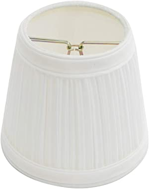 """Renovators Supply Manufacturing Small Clip On Lamp Shade White Fabric 4"""" Tall Vintage Mini Clip On Pleated Drum Style Fit"""