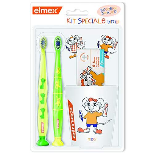 ELMEX Bimbi Kit Denti Sani Protezione Carie - Dentifricio Bambini 0-6 anni 50ml + 2 Spazzolino Bimbi 3-6 anni + Bicchiere Omaggio, Spazzolini di colori assortiti