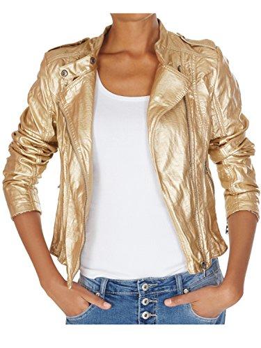 62nd Avenue Damen Bikerjacke Kunstlederjacke gold metallic Paisley 223 L / 40