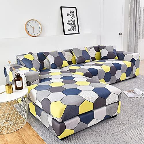 WXQY Funda de sofá elástica de algodón Funda de sofá elástica para Sala de Estar Funda de sofá a Prueba de Polvo Completa Funda de Chaise Longue sillón A14 de 3 plazas