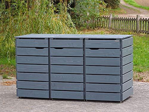 3er Mülltonnenbox / Mülltonnenverkleidung 240 L Holz, Deckend Geölt Tannengrün - 2