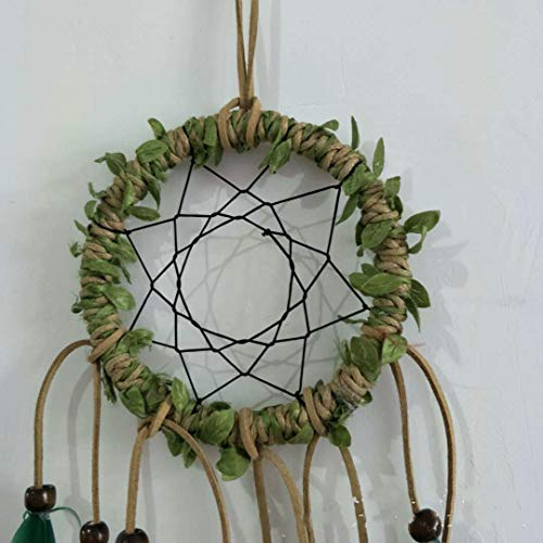 DaTun648 Hand-woven Vines Dream Catcher, Indian Leaf Feather Ornament, Rural Wind System, Home Hanging Grass green