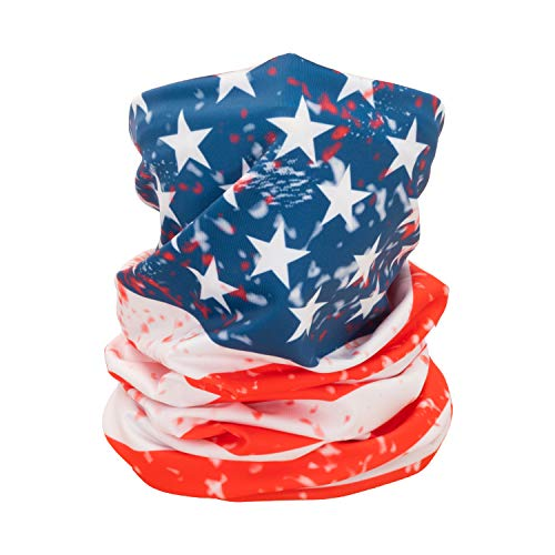 CK FORMULA American Flag Bandanas for Men Women and Kids Neck Gaiter, Stretchable Polyester Microfiber Machine Washable Reusable, Pack of 1