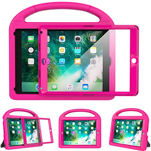 Surom Kids Case for New iPad 9.7 2018/2017 with Built-in Screen Protector, Light Weight Shock Proof Handle Stand Kids Case for iPad 9.7 2017/2018 iPad Air/iPad Air 2/iPad Pro 9.7 - Rose Pink