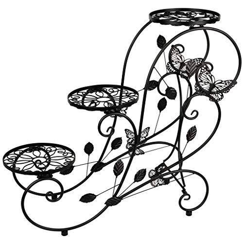 Umi. Essentials Blumentreppe Pflanzenregal Blumenständer Blumenregal mit 3 Töpfe aus Metall