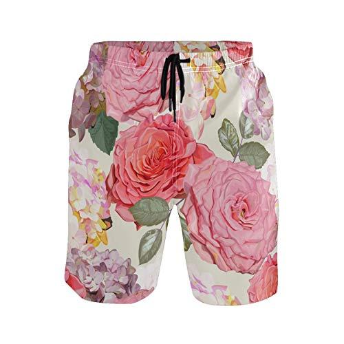 Bonipe Herren Badehose Watecolor Pink Rot Hortensien Rose Blume schnell trocknend Boardshorts mit Kordelzug und Taschen Gr. L/XL, mehrfarbig