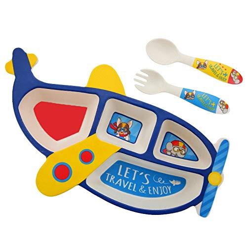 ACAMPTAR 3 Teile/Satz Bambus Faser Kinder Platte Flugzeug Form Gitter SchüSsel Essen Gabel L?Ffel Set Baby FüTterung Geschirr Kinder Geschirr Set Blau