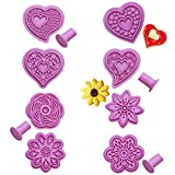 SUNSK Moldes para Galletas Flores Cortador de Galletas Infantiles Galletas Cortador Plastico Fondant moldes corazón para Cookies Cortadores de Galletas de Pastelería 8 Piezas