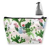 Bolsa de almacenamiento trapezoidal, ligera, multiusos, con cremallera, bolsa organizadora pequeña para cosméticos, maquillaje, monedero, teléfono móvil, estuche para lápices, color rosa