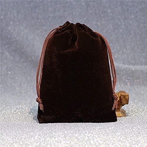 DFGER Bolsas para Joyas Bolsas de Caramelo con Cordones Bolsas de Terciopelo, 50pack Saco de joyería de 12x15cm para Fiesta de Navidad Favores de Boda Regalo (Color : Coffee)