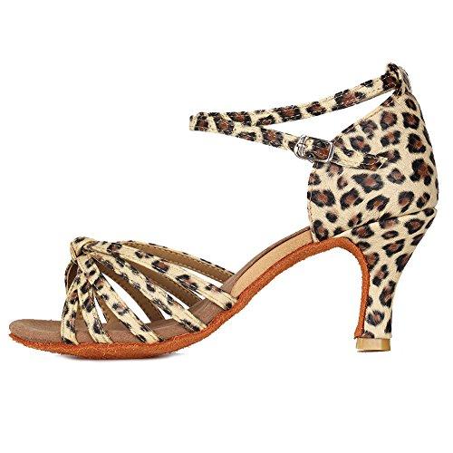 YKXLM Mujeres&Niña Zapatos Latinos de Baile Zapatillas de Baile de Salón Salsa Performance Calzado de Danza,ES217-7,Leopardo Color,EU 35