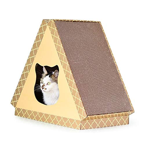 Edward Jackson Triangle Tablet Cat House Weatherproof Outdoor Cat Houses For Outside Garden Cat Houses Cat Shelter 47.5cm X 30cm X 4cm Cat Climbing Frame Cat Scratching Tower Activity (Color : B)