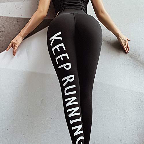 PKYGXZ Leggins Mujer Impresión de Letras Sport Fitness Leggings Mujeres Pantalones de Yoga de Cintura Alta Entrenamiento a Prueba de Sentadillas Gimnasio Ejercicio Running Medias