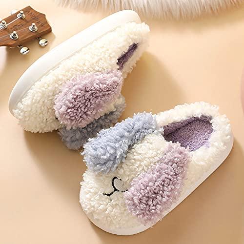 Zapatillas De Casa,Pantuflas para Mujer Invierno Blanco Rizado Felpa Forma De Perro Orejas Asimétricas Cierre Lindo Piso Suave Y Cálido Zapatilla Mullidas Zapatillas De Espuma Viscoelástica La