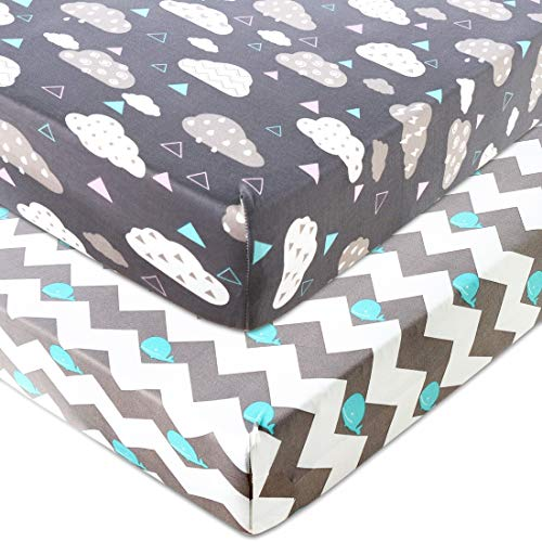COSMOPLUS Knitted Crib Sheet Set -2 Pack Stretchy Crib Sheets for Boys Girls,Universal Knit Fitted for Standard Baby Toddler Crib,Whale/Cloud