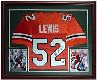 Ray Lewis Autographed Miami Hurricanes (Orange #52) Deluxe Framed Jersey