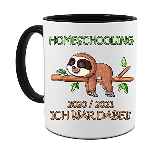 HOMESCHOOLING 20/21 ICH WAR DABEI |FOTOTASSE| TASSE|MOTIV TASSE | BEDRUCKTE TASSE | KAKAOTASSE | TEETASSE | GESCHENK|KERAMIK|TASSE (Schwarz)