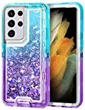 JAKPAK for Galaxy S21 Ultra 5G Case for Girls Women Glitter Bling Sparkle S21 Ultra Case Heavy Duty Shockproof Protective Shell with PC Bumper TPU Back Cover for Galaxy S21 Ultra 6.8inch Teal Purple