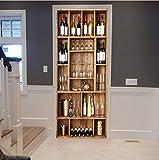 Porte Autocollants 3d Papier Peint Refroidisseur De Vin Sticker Porte PVC Imperméable pour Décoration Mur Salon Cuisine Chambre Salle 77X200cm