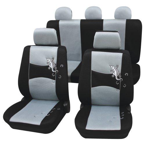 Cartrend 60223 Gecko Mesh Sitzbezug-Komplettset, Grau, mit Dokunaht