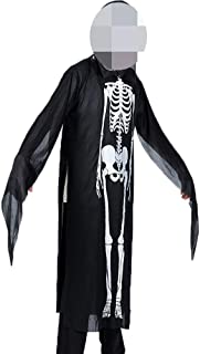 Horror Creepy Screaming Skull Skeleton Ghost Dress-Up Cosplay Clothes Costume Cloak Robe for Halloween Party