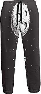 Cyloten Sweatpants Astronaut Flies with Moon Men's Trousers Cotton Baggy Sweatpants Novelty Pants for Daily
