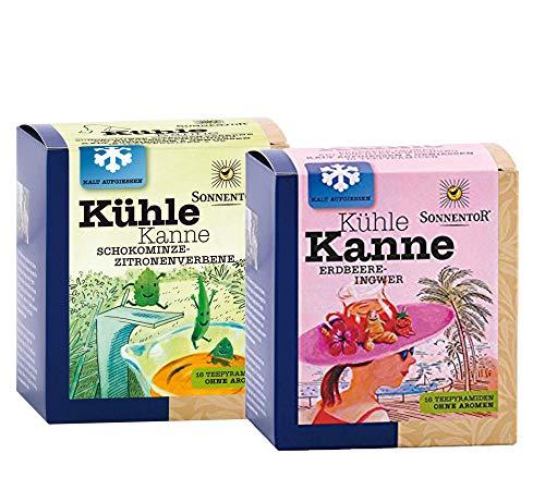 Sonnentor bio Kühle Kanne: Erdbeer-Ingwer Tee + Schokominze-Zitronenverbene Tee BIO-AT-301
