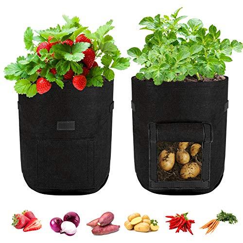 Bolsa para Plantas Maceta de Cultivo de Patata Transpirable y Durable Bolsas de Cultivo de Jardín...