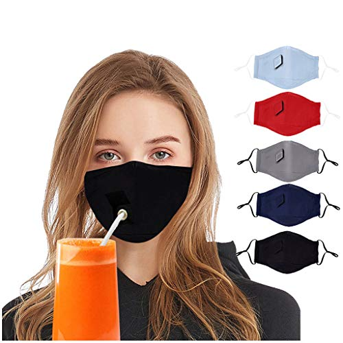 Crazypig 5PCS Adult Reusable Bandana_Covering_Mask Breathable Cotton With Straw Hole Multicolor Madk for Men Women Outdoor Sports, Reusable&Washable