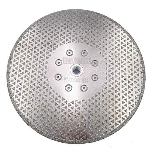 DT-DIATOOL Disco Diamante de Corte y Rectificado 230 mm x M14 Electrochapado de Doble Cara para Piedra Mármol Baldosa Granito