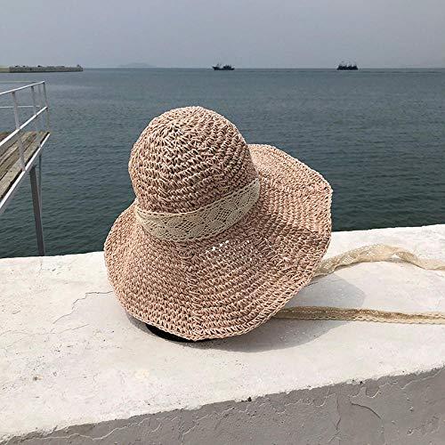 TOORY mural Sombrero De Paja con Gran Guirnalda Sombrero para El Sol Sombrero para El Sol para Mujer Excursión De Verano Sombrero De Arena para La Playa Sombrero De Onda para Padres E Hijos-Rosa
