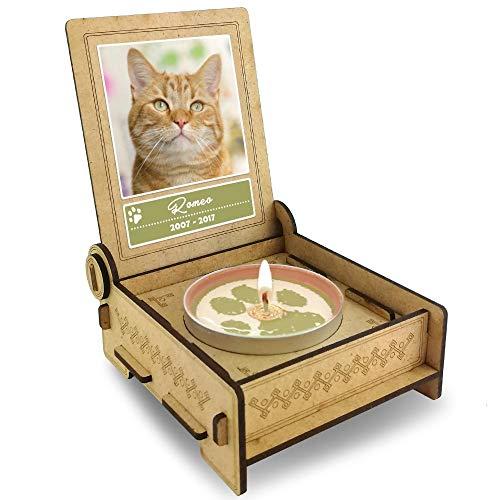 TROSTLICHT Katze, personalisierte Trauerkerze Katze, Trauergeschenk Katze Andenken, Gratis e-Book, Katze Gedenken Haustier, statt Trauerkarte Tiere (Spruch: Flügel)