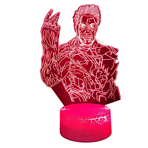3D Illusion Night Light 3D Optical Illusion Lamp Avengers Thanos Touch Table Desk Lamp for Kids Bedroom, USB Charger Pretty Cool Gifts for Birthday X-mas Holiday Valentine's Day